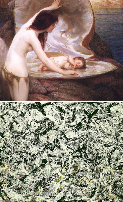 (ILLUSTRATION: Top, Water Babyby Herbert Draper; bottom, Greyed Rainbow by Jackson Pollack)
