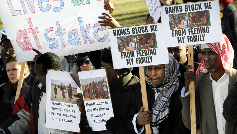 They are protesting that they are not allowed to send their extra welfare money back to Somalia.