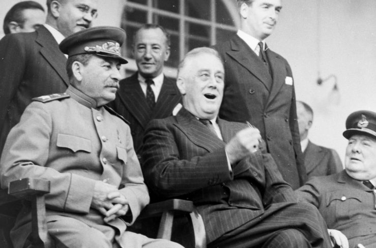 Image result for churchill roosevelt and stalin smiling