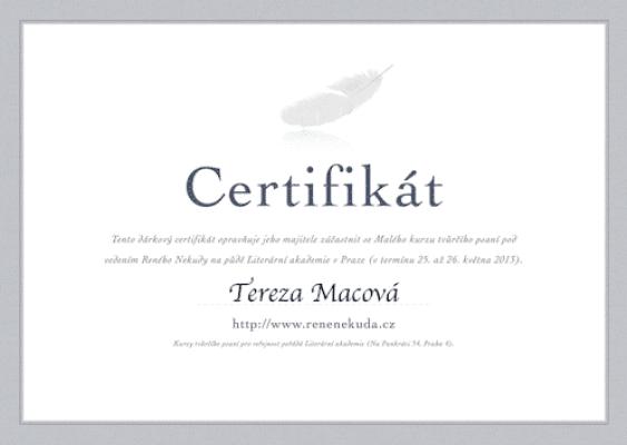 Dárkový certifikát ke kurzům tvůrčího psaní Reného Nekudy