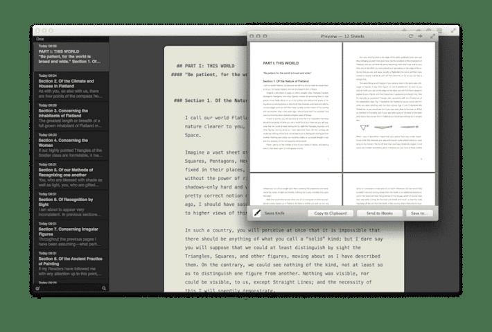 Ulysses app – preview mode