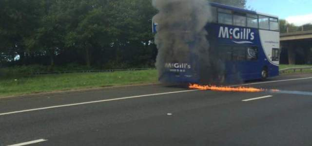 Bus on fire near Cardonald, road closed