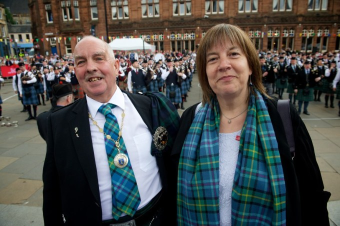 Depute Provost John Caldwell with Agnes Mehl from Renfrewshire's 'twin town' in Germany, called Fuerth  Photo Credit: Renfrewshire Council