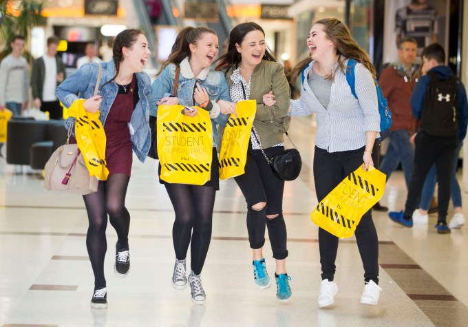 We're mall having fun – Strathclyde University students Niamh Cullin, Millie Rodgers, Niamh Bradley and Rachel Hagan.