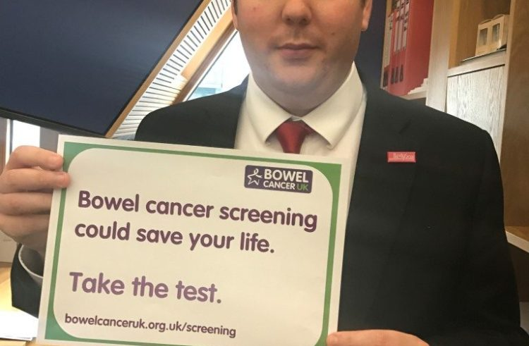 Neil Bibby MSP pledges to help charity raise awareness of screening in West Scotland during Bowel Cancer Awareness Month in April