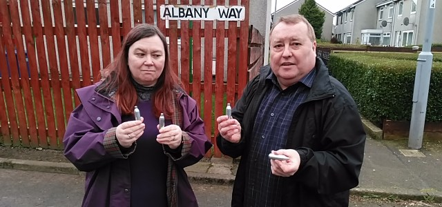 Councillors raise dangers of laughing gas after discarded canisters found in the Gockston area of Paisley