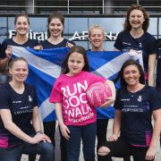 Scottish netball stars are going for gold in the Commonwealth Games cheered on by brave Amy who beat cancer