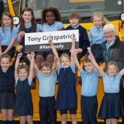 Tony Fitzpatrick meets pupils with his winter gritting namesake