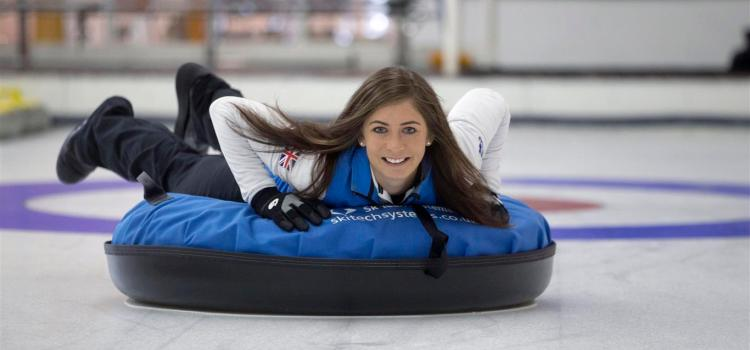 Olympic ice star Eve brushes up on her HUMAN curling skills
