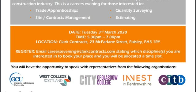 Careers Evening to be held by Clark Contracts