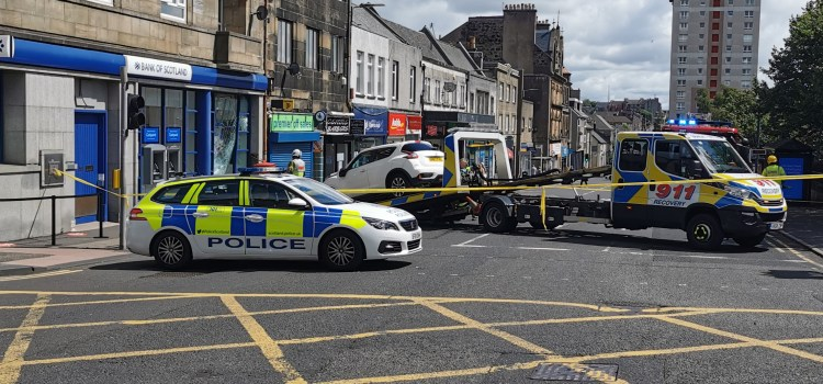 Car smashes through barrier and hits window of Johnstone bank