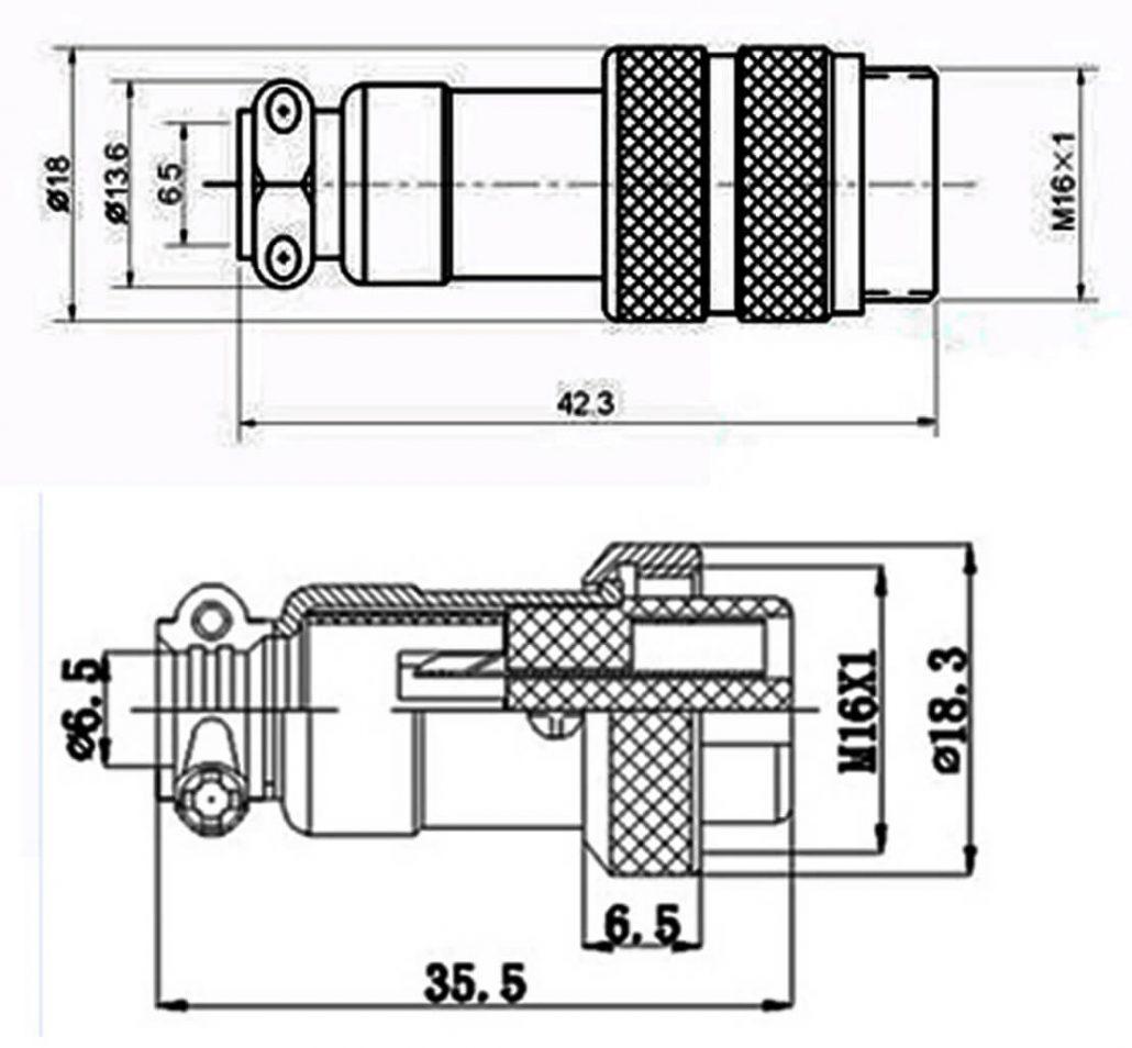 Gx 16 Connector 8 Pin Plug Doking Cable Plug