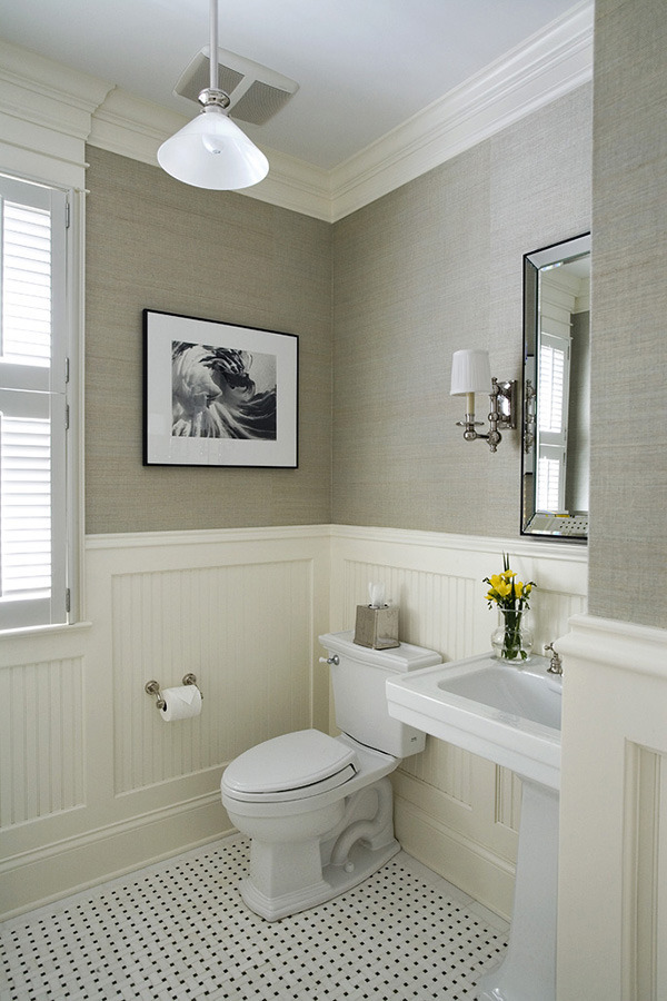 picture frame moulding below chair rail graco high molding ideas for the bathroom renocompare despite neutral colors this room is full of texture including beadboard panels and gray grasscloth