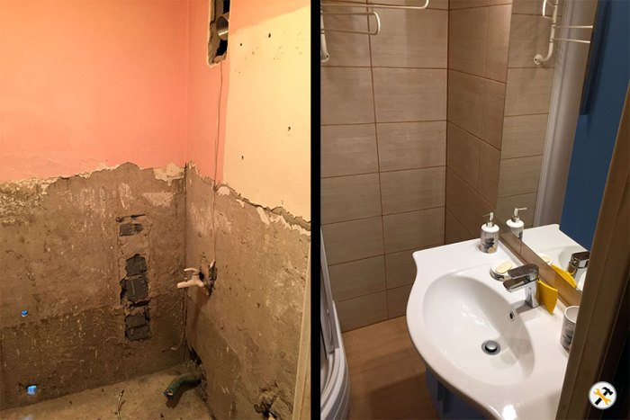 Rekonštrukcia kúpeľne pred a po