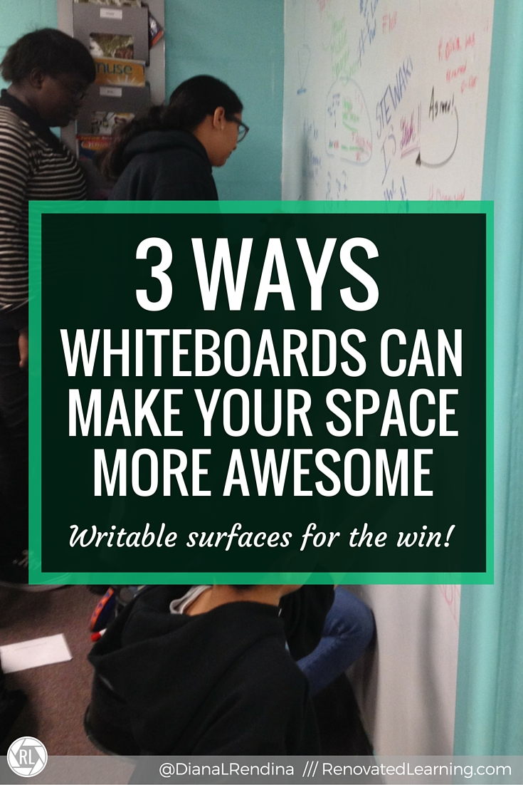 3 Ways Whiteboards Can Make Your Space More Awesome | Whiteboards and writable surfaces are far more than just instructional spaces. By creating unconventional whiteboard surfaces with whiteboard paint and whiteboard topped tables, we can transform how our students interact with our spaces. Here's 3 ways whiteboard surfaces can be used to make your space more awesome.