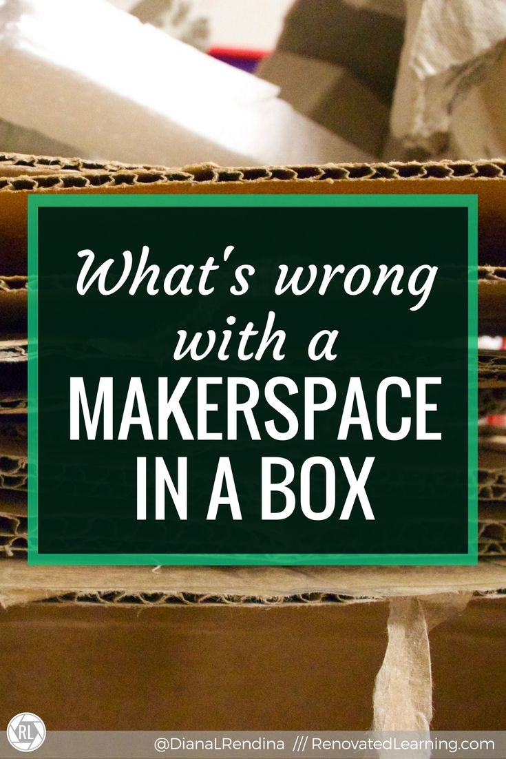 "What's Wrong with a Makerspace in a Box - There is a trend in education of selling ""makerspace in a box"" programs that are meant to handle the planning of a makerspace for you. The problem with these kits is that they don't involve students in the design process of creating a makerspace."