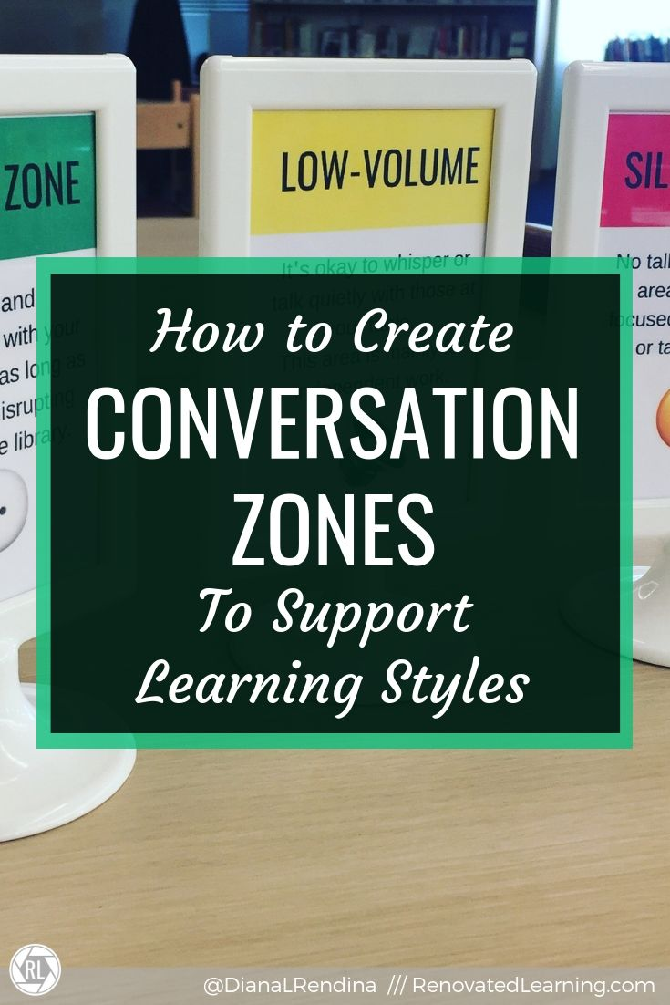How to Create Conversation Zones to Support Learning Styles : Our libraries support a variety of learning styles and activity. By creating conversation zones, we can better support the learning needs of ALL our students.