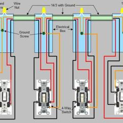Wiring Diagram Junction Box Distribution 4 Way Switch Installation Circuit Style 3 More Than Three Locations To Control Light Fixtures Utilizes Note An Electrical