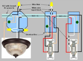 wiring a light fixture diagram for genie garage door opener how to wire 3 way switch power enters at box proceeds