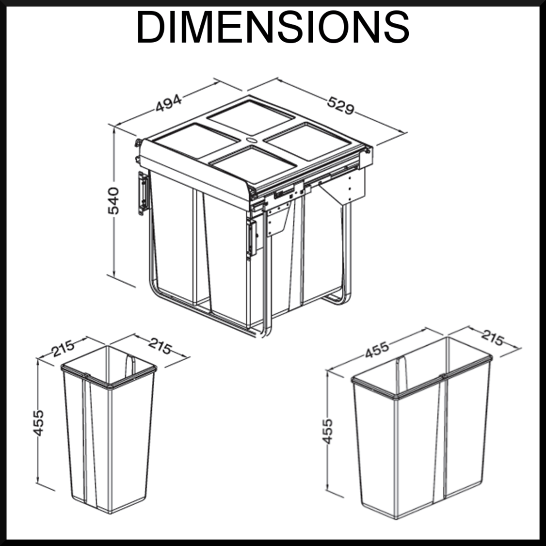 kitchen trash can dimensions wall mounted cabinets drawer wooden tilt out bin with