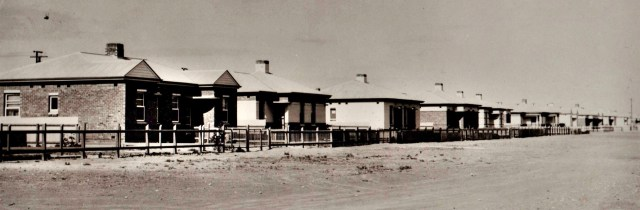 These Housing Trust homes in Goodman Street were built to house the many people who migrated to Whyalla to work in the shipyard and the blast furnace in the early 1940s. Residents' groups agitated to have the streets sealed, the cost of which was a factor in BHP accepting calls for elected local government in 1945. BHP Archives, Author provided