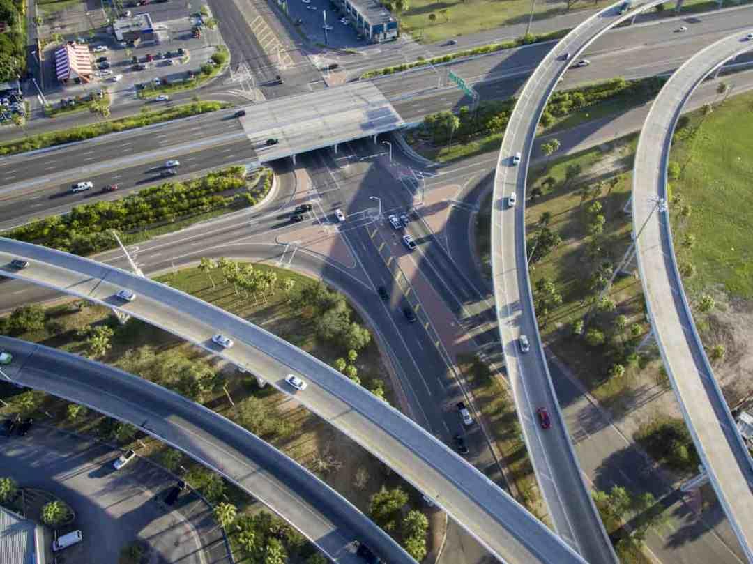 Highways winding together in McAllen, Texas.