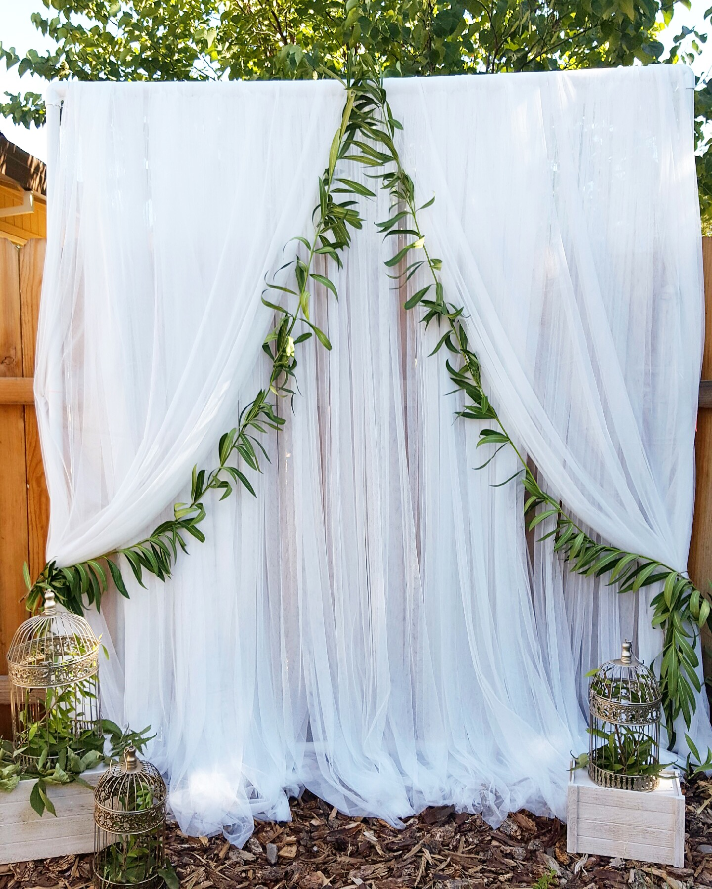 backdrop frame with tulle