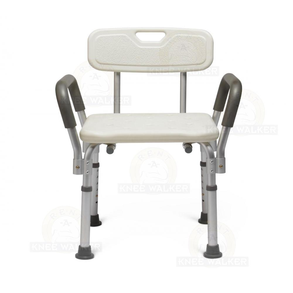 shower chair with back and armrests white modern dining chairs arms 350lbs mds89745ra rent a knee walker by medline