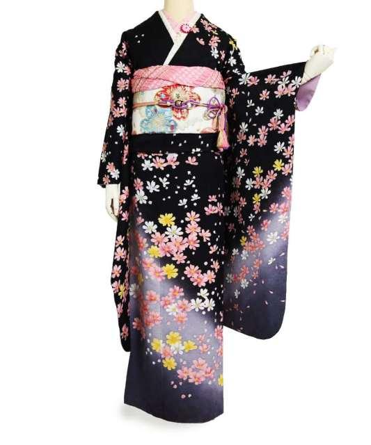 👑№3【成人式/参列/振袖】凛とした美しさ◆黒地秋桜A