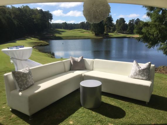 Golf Course Lounge Area ft Luxe Sectional Sofa