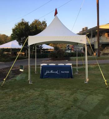 10 x10 Commercial Tent 6 ft table under
