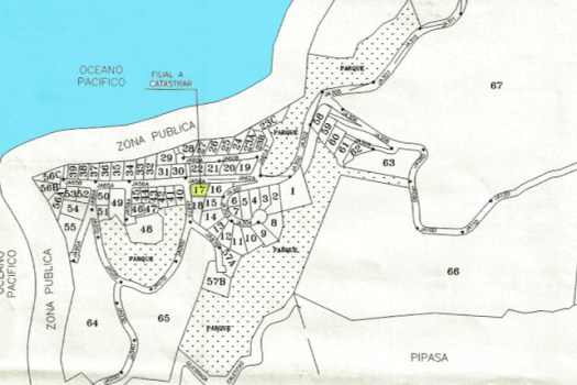 Site map of lot 17 available for sale in Punta Leona, Costa Rica