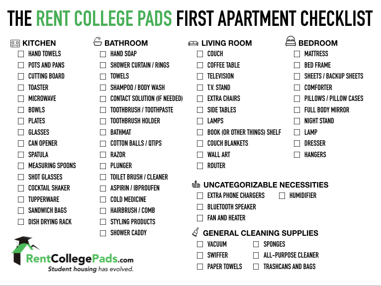 First Apartment Checklist For New Renters  Rent College Pads