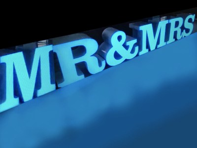 mr and mrs letter table rental