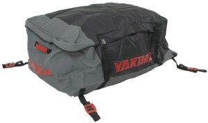 Black and gray Yakima GetOut Pro Car Top Carrier Cargo Bag with straps