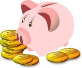 Piggy Bank with Money Saved on Luggage Rental, uhaul moving tips