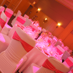 Red Spandex Chair Sashes Whiskey Barrel Chairs Covers With And Rhinestone Buckles || Rent Online At Rentmywedding.com ...