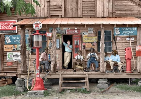 Nedeljski počitek na črpalki s kerozinom, Severna Karolina, 1939 (foto: Shorpy)
