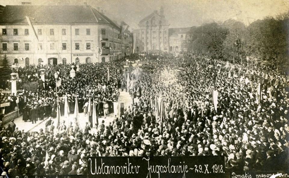 1918 - proslava na Kongresnem trgu ob ustanovitvi Jugoslavije