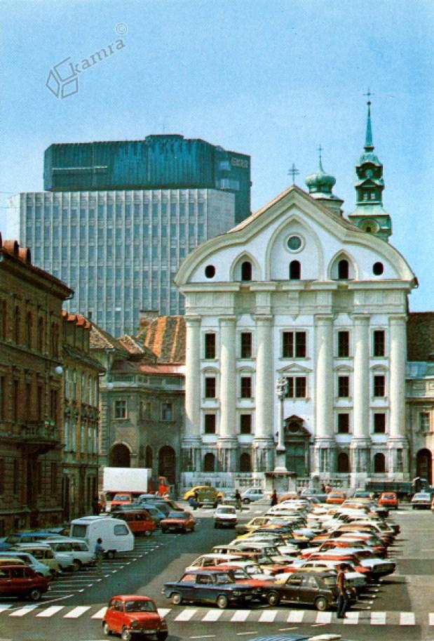 1980 - Kongresni trg, Uršulinska cerkev in novozgrajena TR2 in TR3
