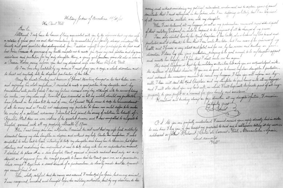 Pismo Luisa Ramosa gospodu Webbu | Britanski državni arhiv