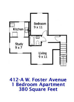 Floor plan of the 1-bedroom apartment at 412-A W. Foster Avenue.