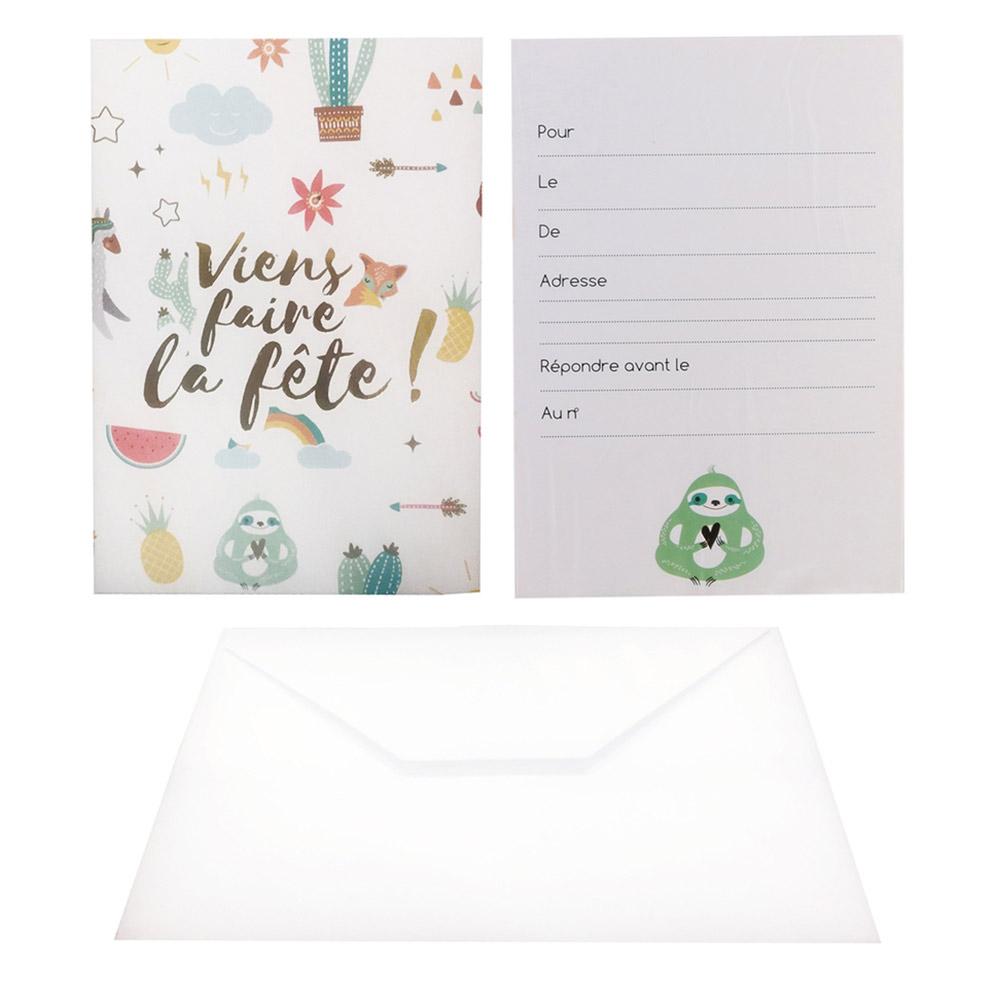 6 cartes d invitation anniversaire avec enveloppes blanches