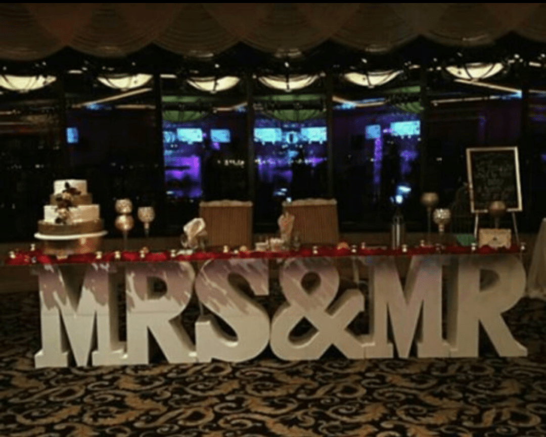 places to rent tablecloths and chair covers near me old wooden rocking mr mrs letter table something borrowed party rentals
