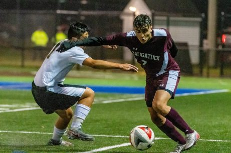 WATERBURY, CT. 07 November 2019-110719BS576 - Naugatuck's Lucas Silva (7), makes a move going past Woodland's Christian Hotchkiss (1), during the NVL Boys Soccer final between Naugatuck and Woodland at Municipal Stadium on Thursday. Naugatuck beat Woodland 2-1. Bill Shettle Republican-American
