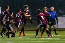 WATERBURY, CT. 07 November 2019-110719BS576 - Naugatuck's Mateus Filho (54), second from right, reacts and celebrates his scoring of a goal with Freddie Longo (3) and other teammates, during the NVL Boys Soccer final between Naugatuck and Woodland at Municipal Stadium in Waterbury on Thursday. The Naugatuck boys soccer team are the 2019 NVL Champions after beating Woodland 2-1. Bill Shettle Republican-American