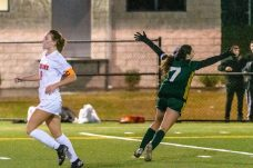 WATERBURY, CT. 07 November 2019-110719BS02 - Holy Cross' Sophia Vescera (7), right, reacts after scoring the go ahead goal, with Watertown's Malina LaCapra (6) looking on, during the NVL Girls Soccer final between Holy Cross and Watertown at Municipal Stadium on Thursday. Bill Shettle Republican-American