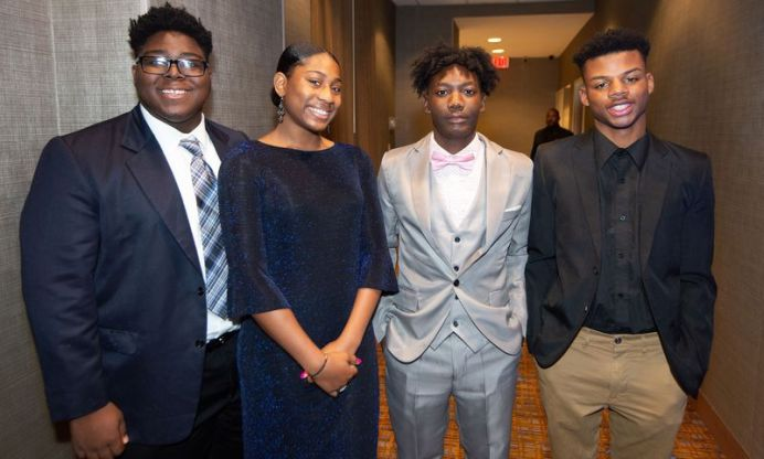 Nacho Vincent, 17; Asia Chapman, 16; 2019 Youth President of Waterbury NAACP Amari Brantley, 17; and Brandon Pittman, 17, at the NAACP of Greater Waterbury's 55th annual Mind Body and Soul Freedom Fund Dinner held Saturday at the Courtyard Marriott in Waterbury. Jim Shannon Republican-American