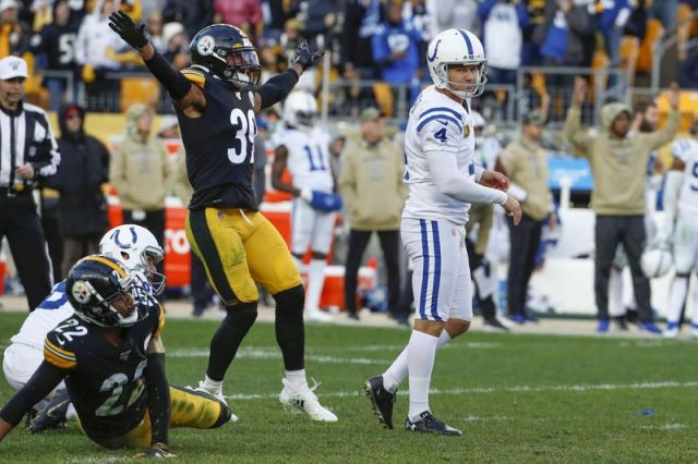 Pittsburgh Steelers free safety Minkah Fitzpatrick (39) celebrates as a field goal-attempt by Indianapolis Colts kicker Adam Vinatieri (4) goes wide during the second half an NFL football game, Sunday, Nov. 3, 2019, in Pittsburgh. (AP Photo/Gene J. Puskar)