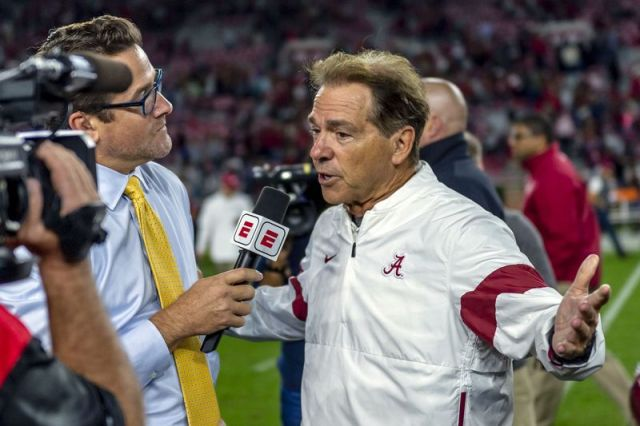 Alabama head coach Nick Saban talks with ESPN after an NCAA college football game against Arkansas, Saturday, Oct. 26, 2019, in Tuscaloosa, Ala. (AP Photo/Vasha Hunt)